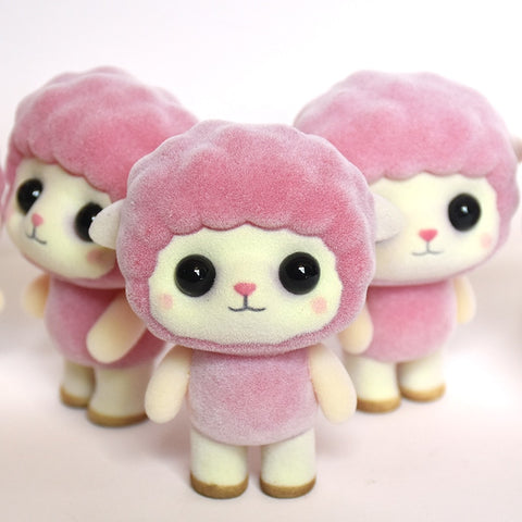PVC Flocking Doll Toys Kawaii Mini Pink Sheep Decoration Toys For Girls Exquisite Dolls Best Christmas Gifts For Girls