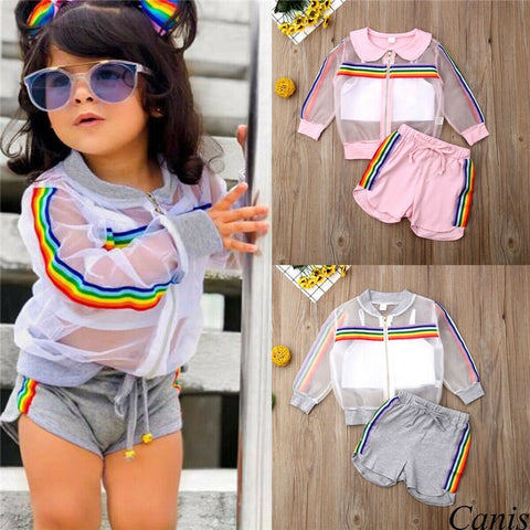 Children Long Sleeve Coat+Vest+Short Pants Clothing Set Summer Outfit Baby Girl 3pcs Clothes Kid Infant Fashion Set