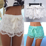 Womail Women shorts  Summer Elastic Waist Lace Crochet Beach Mini Shorts Hot shorts Daily Casual shorts denim color