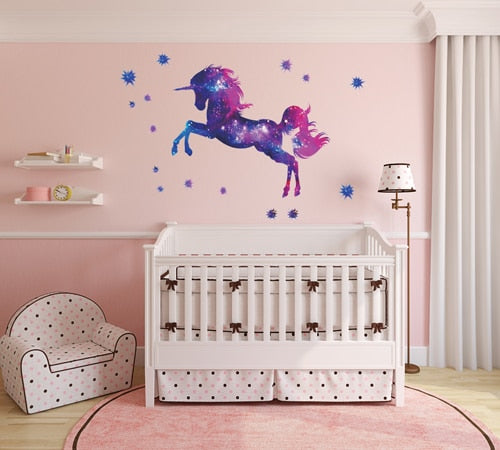 Cute Unicorn Flamingo Wall Stickers for Kids Rooms Girls Bedroom ...