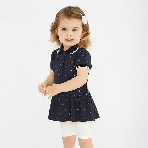 Spring baby girl fashion clothing sets girls lovely short sleeve suits navy children