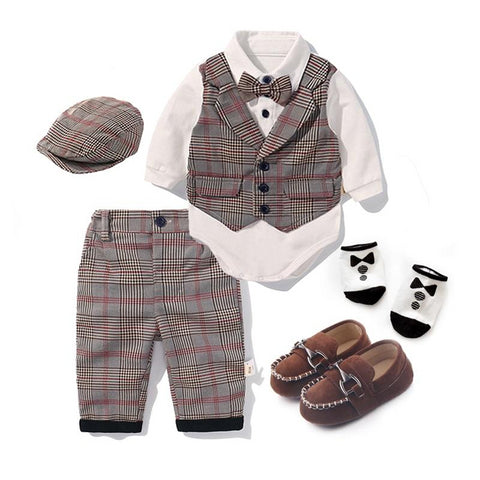 Toddler Boys Clothing Set Spring Baby cotton plaid Children Kid Clothes Suits 5pcs birthday Party Costume 1 2 3 Year Gift