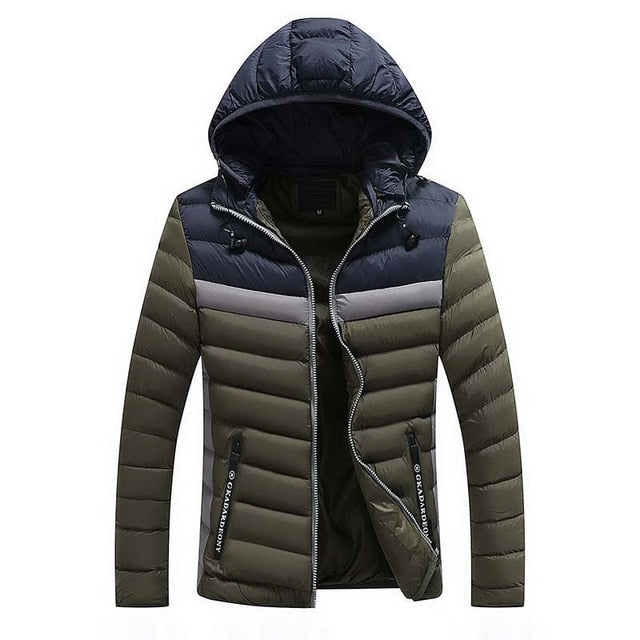 Men's Casual Stitching Parkas Winter Fashion Brand Fleece Jacket Men Hooded Thick Warn Padded Overcoat Man