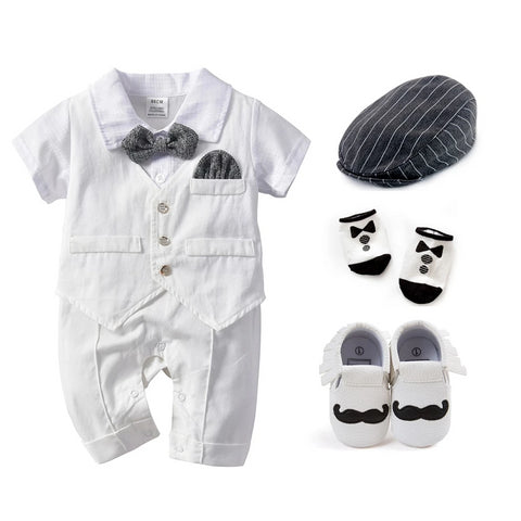 New Summer Brand Gentleman Style Baby Boys Clothing Sets white Children Clothing 6-24 M Kids Clothes tie bow vest shoes set