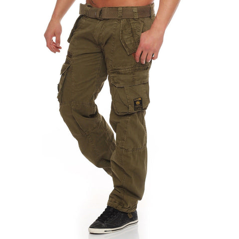 New European and American men's trousers fitness Slim sports casual pockets solid color stitching men's clothing