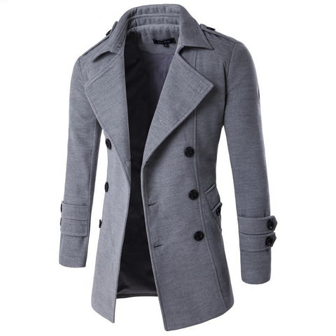 Men's winter lapel casual overcoat long double-breasted trench coat