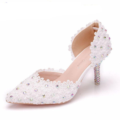Sandals Pointed High Heels White  Lace Flower Bride Marriage Wristbands Diamond Dresses Wedding Shoes