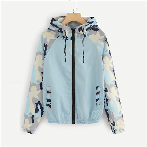 Blue Camouflage Panel Zip Up Hoodie Jacket Swish Long Sleeve Coats And Jackets Fashion Women Spring Autumn Jackets