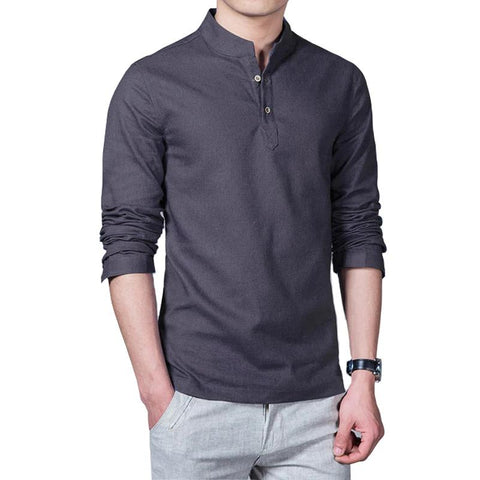 New Cotton Linen Men Shirt Long-Sleeve Casual Shirt Slim Fit Chemise Homme Camisa
