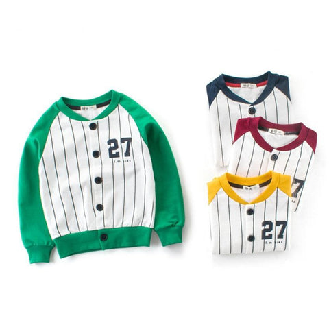 New Striped Bomber Jackets For Boy Girl Children Outdoor Baseball Uniform Windbreaker Baby Kids Outerwear Coats JH130