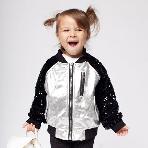 Leather Jacket with Sequin for Kid Clothe Girls Boys Children Clothing Spring Autumn Outerwear & Coats