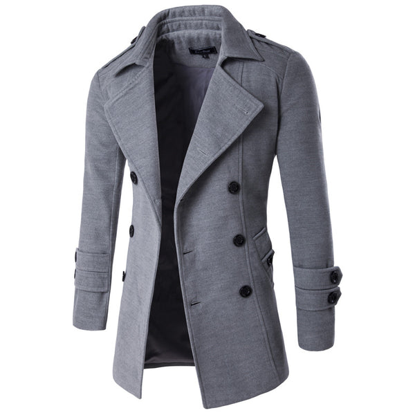 Autumn Winter Jacket Men Peacoat Mens Jackets And Coats Male Brand Clothing Chaqueta Hombre Wool & Blends Men Trench M-XXL