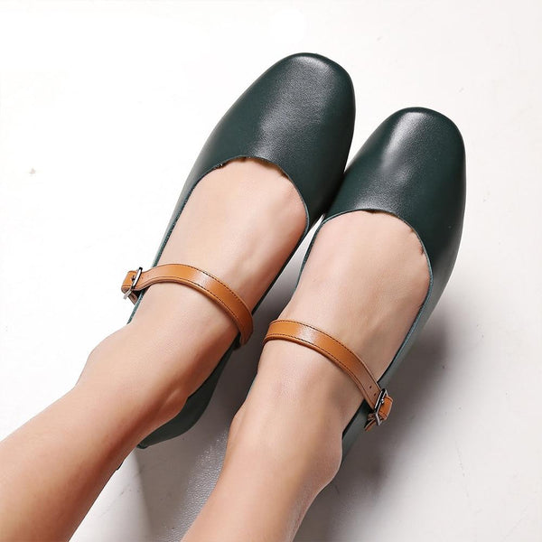 Spring New Genuine Leather Mary Jane Shoes Soft and Comfortable Fashion Buckle Consice Elegant Vintage Pumps P320