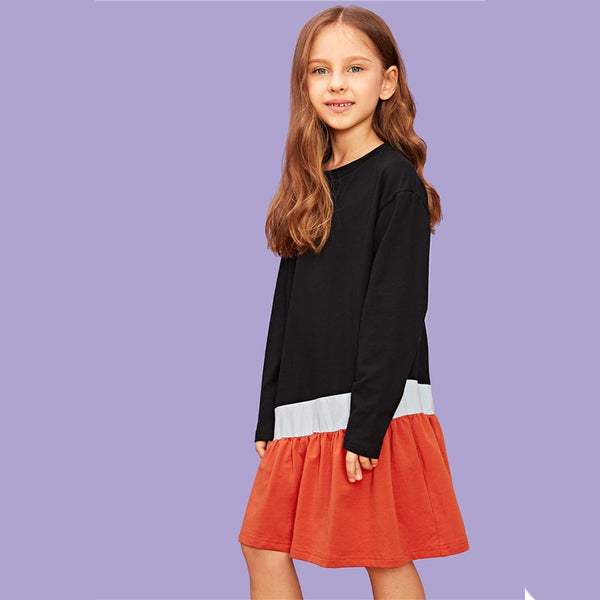 Kiddie Cut and Sew Color Block Shift Party Girls Dress 2019 Spring Long Sleeve Casual Midi Kids Dresses For Girls Clothes