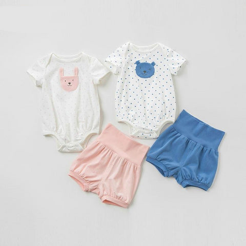 Summer newborn baby romper+ shorts 2 pieces clothing sets infant toddler clothes baby jumpsuits