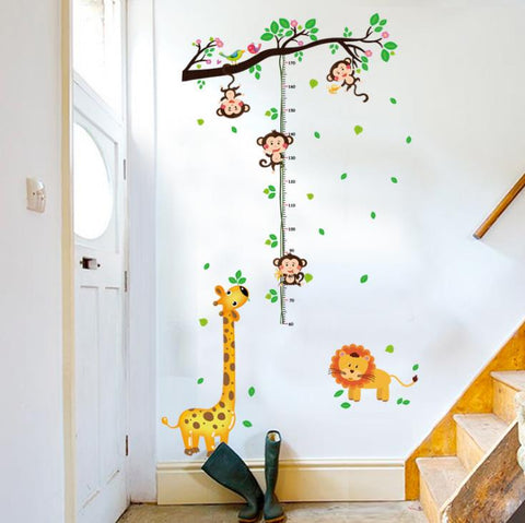 climbing plant monkey giraffe lion wall stickers animals child wall sticker kid bedroom measure height living room Decor