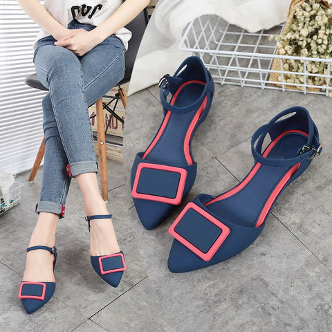 Jelly Flat Shoes Women Pointed Toe Ankle Buckle Casual Slip Resistance Flats Spring Summer Sandals