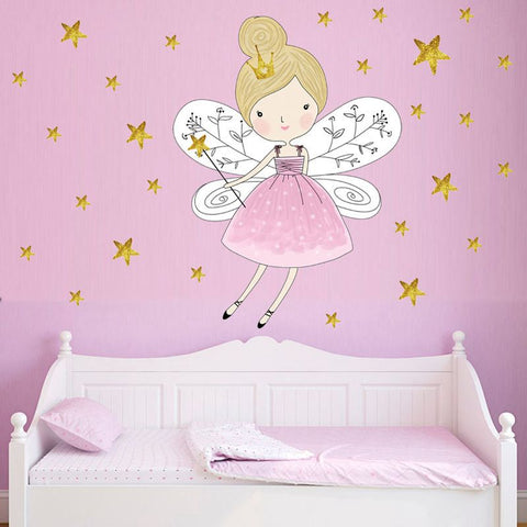Colorful Stars Beautiful Fairy Girl Vinyl Wall Sticker for Kids Bedroom Baby Room Decor Removable Wallpaper Wall Art Decals DIY