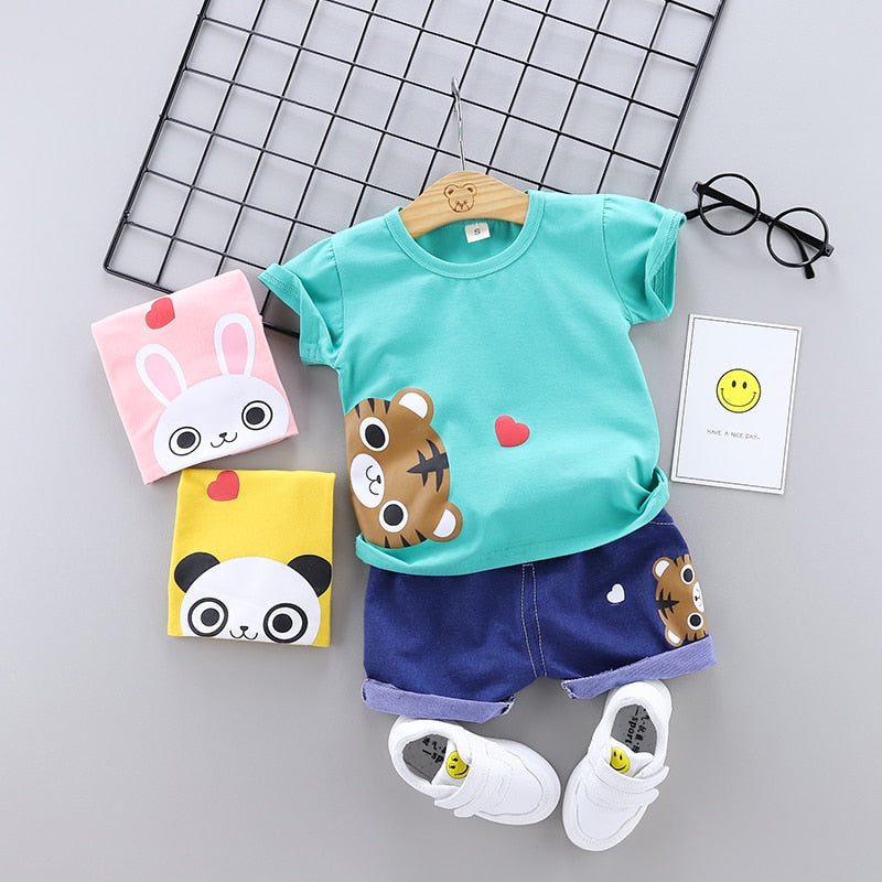 Baby Girls Boys Clothes Set Summer Infant Boy Clothes Outfits Cartoon  Cotton Outfits Shirt + Dnim Shorts Baby Children Clothing