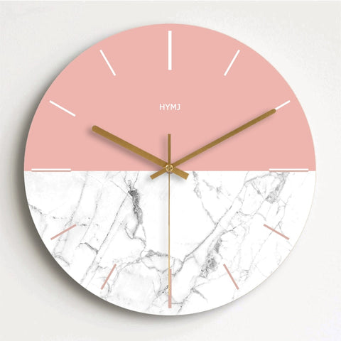 Wooden Wall Clocks Modern Living Room Home Wall Decor Round Wood Silent Hanging Clock Pink and White 10/12/14/16 Inch