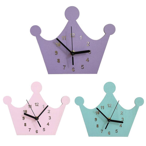 Crown Shape Wood Wall Clock Crown Mute Clock Pendulum Clock Bell Wooden Wall Decoration Ornaments