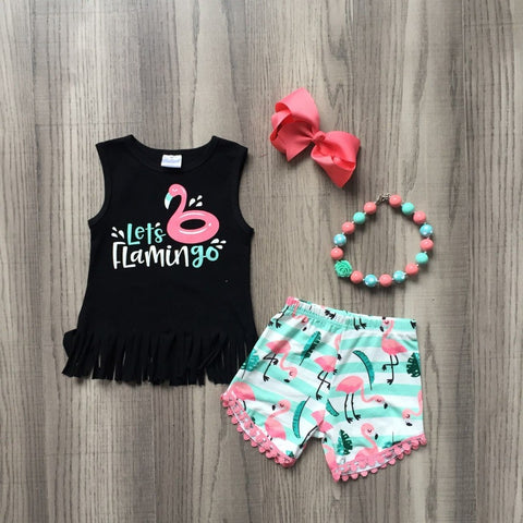 Baby girls summer outfits kids girls LET's flamingo summer outfits girls top with flamingo shorts clothes with accessories