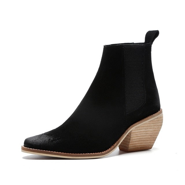 Spring New concise women ankle boots for chunky high heel slip on pumps genuine leather black martin boots females