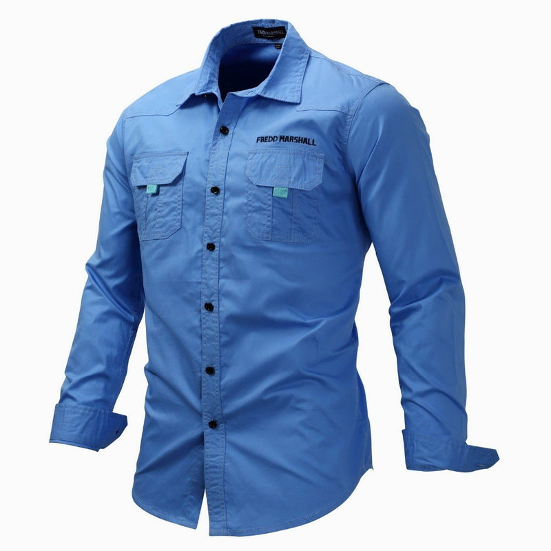 Europe Size Male Long Sleeves Cotton Shirt Turn Down Collar Single Breasted Spring Autumn Blouses Camisas Para Hombre J2397