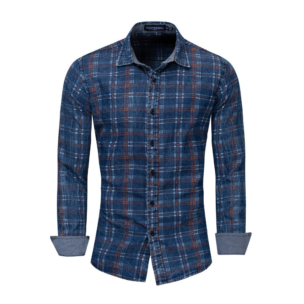2db9961bce Men Shirt 100% Cotton Long Sleeved Plaid Shirt Male Social Business Dr |  JOHNKART.COM. }
