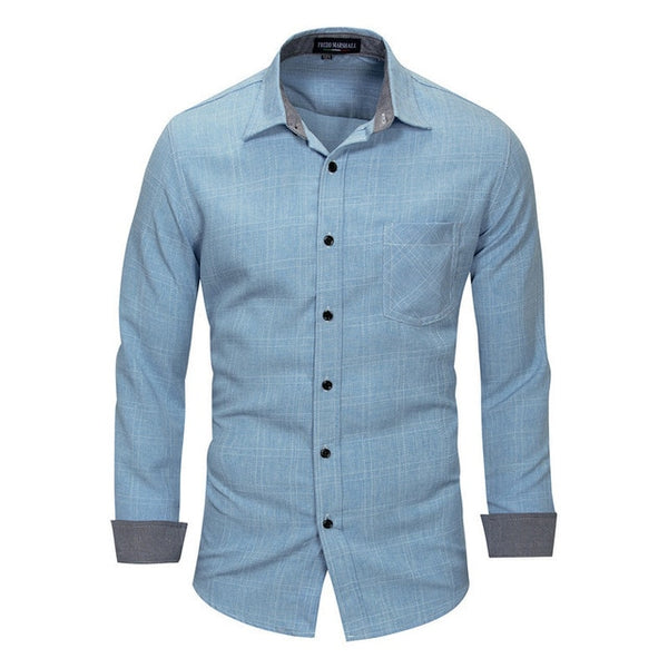 British Style Men's Plaid Shirt with Pocket Spring New Long Sleeve Simple Shirt Cotton Slim Fit Button-down Man Clothing