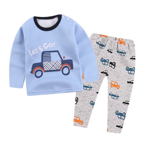 Kid Thermal Underwear Unisex Baby Boys Girls Long Johns Sets Children Pajamas Suit Clothing 1-6T