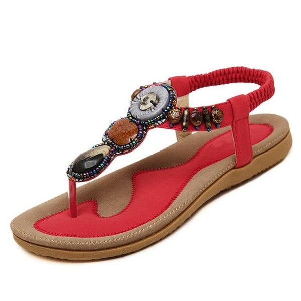 Sandals Women Flip Flops Casual Shoes Woman Beading Elastic Band Sandale Femme Fashion Flats