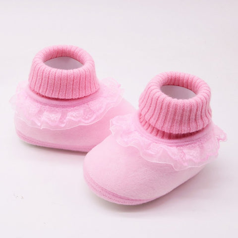 Lovely Newborn Baby Girls Shoes Winter Warm First Walkers Infant Baby Anti-slip Shoes  Newborn Girls Booties