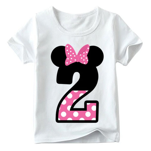 Baby Boys/Girls Happy Birthday Letter Bow Cute Print Clothes Children Funny T shirt,Kids Number 1-9 Birthday Present,HKP2416