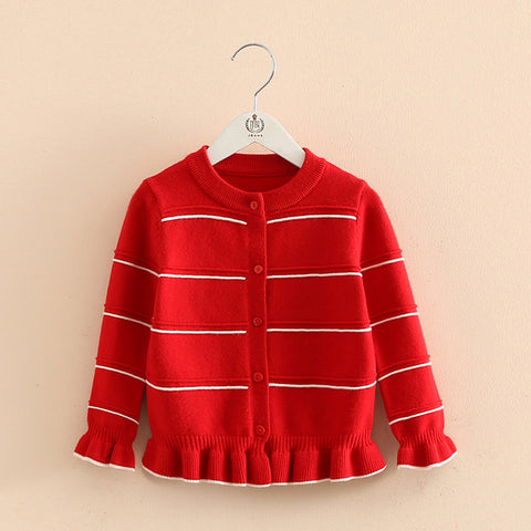 Autumn Spring 3-12 Years Old Teenage Christmas Gift Children'S Baby O-Neck Ruffles Knitted Kids For Girls Cardigan Sweaters