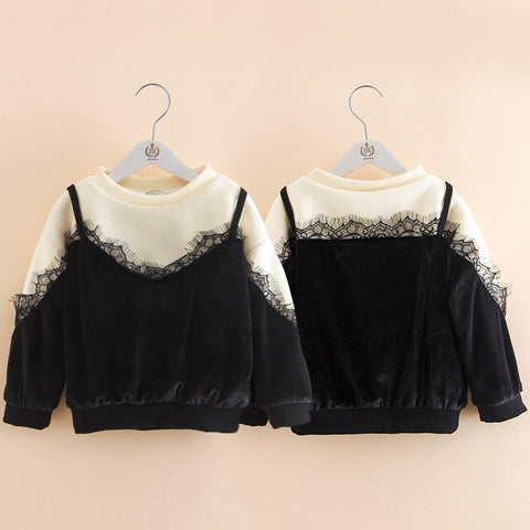 Autumn Winter 2-10 11 12 Years Old Teenage O-Neck Long Sleeve Lace Patchwork Thickening Plus Kids Baby Girl Sweaters