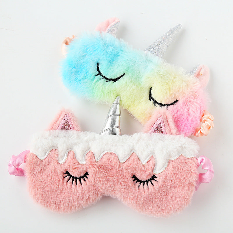 Unicorn Eye Mask Cartoon Variety Sleeping Mask Plush Eye Shade Cover Eyeshade Relax Mask Suitable for Travel Home Party Gifts