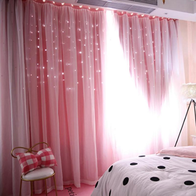 Hollowed Out Star Shading Window Blackout Curtain Drapes Purdah for Living  Room Princess Children Room Baby Kid\'s Room Curtain