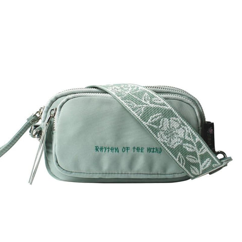 Flower Princess Green Chest Bags Women Waterproof Nylon Shoulder Crossbody Bags Fashion Multi Zipper Pocket Small Bags for Women