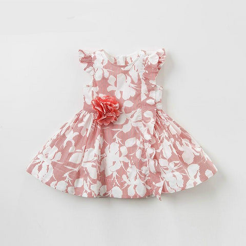 Summer baby girl red print clothes children birthday party wedding dress kids boutique dresses