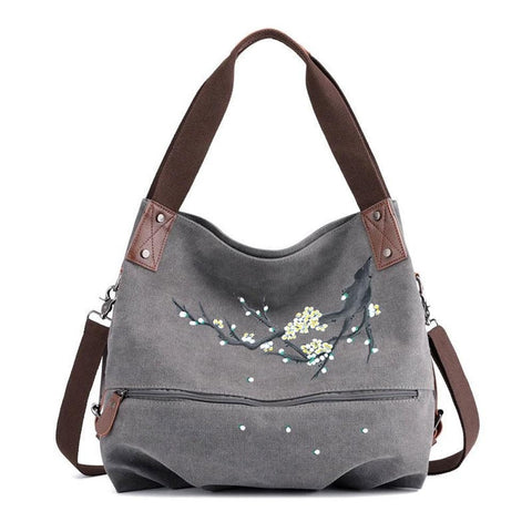 Women's Hand-painted Handbag Large Capacity Canvas Shoulder Bags Female Casual Ethnic Floral Painting Travel Bag Bolso