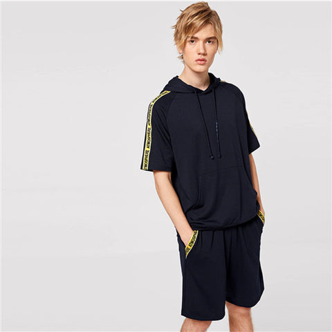 Men Letter Tape Raglan Sleeve Hoodie And Shorts Set Summer Navy Short Sleeve Set Casual Fitness Man Two Piece