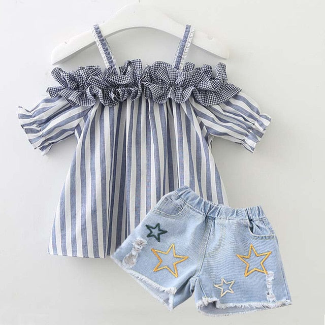 11b1468b8 Cute striped summer clothes set for baby girls Summer outfits Newborn baby  Cotton Clothing Suit Infant Toddler Clothes Suit