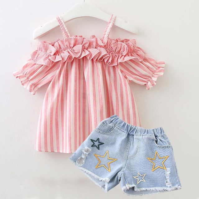 Cute striped summer clothes set for baby girls Summer outfits Newborn baby Cotton Clothing Suit Infant Toddler Clothes Suit