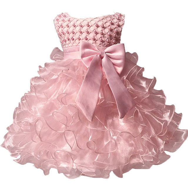 Baby Kids Pearl Princess Baptism Party Tutu Dress For Girls Infant Girl's Christening Birthday Dress Toddler Carnival Vestidos