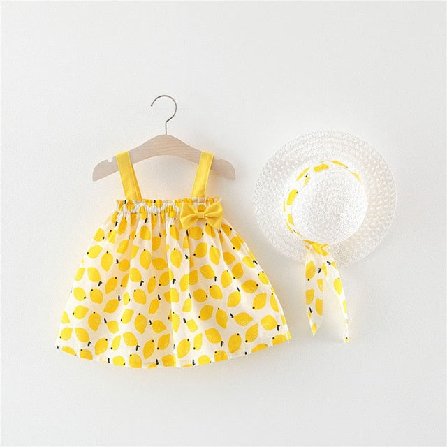 Baby Girls Clothes Summer Baby Dress With Bow Hat 2pcs Clothes Set Newborn Infant Toddler Dresses Party Wedding Dress Vestidos