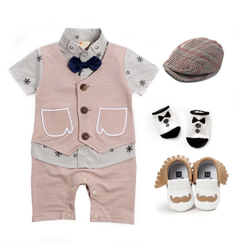 Toddler boys rompers sets high quality cotton vest jumpsuits +hat+sock+shoes clothing sets baby newborn first birthday clothes