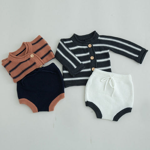 Spring Autumn Girls Boys Horizontal Stripes Cardigan Coat + Shorts Kids Clothes Boys Outfits Suits Children Clothing Sets