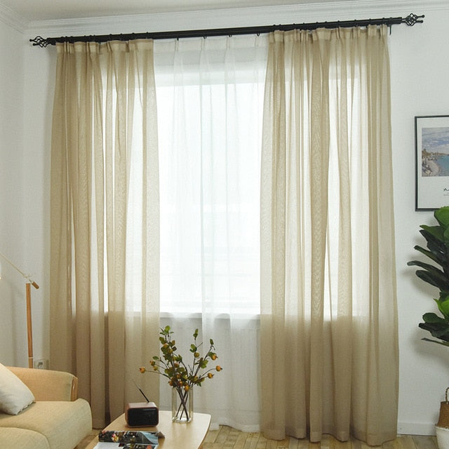 Modern Window Curtain Home White Rural Sheer Tulle Curtains for Living Room  Bedroom Bathroom Kitchen Window Screen P276D3