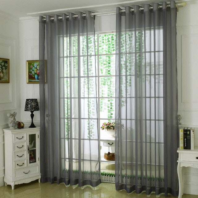 Solid Yarn Curtains Window Tulle Curtains for Living Room Bedroom Kitchen  Modern Sheer Curtains Treatments Voile Drapes 184&40